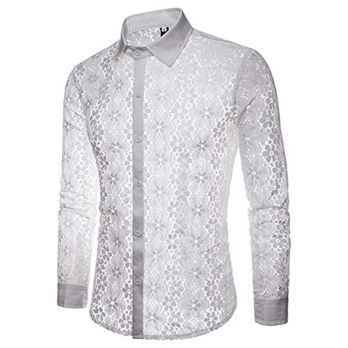 Men's Shirt Long Sleeve New Sexy Lace Transparent Shirts Mens Premium Button Lapel Casual Night Club Perspective Shirts Leisure Nightclub Party Shirt Tops Slim Fit XL