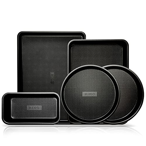 BINO Bakeware Nonstick 5-Piece Baking Set - Black | Premium Quality Textured Bakeware Set with Even-Flow Technology | Dishwasher Safe | Non-Toxic