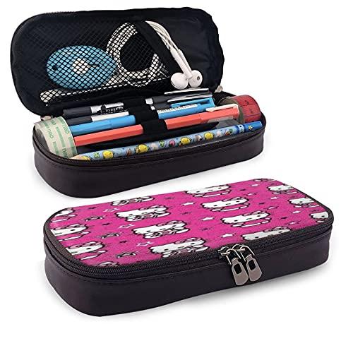 Bolsa de papelería, estuche de lápiz con cremallera, bolsa de almacenamiento de cosméticos Hello Kitty estuche de piel para unisex