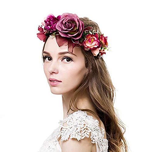 Winslet Blumenkrone, Stirnband mit verstellbarem Band für Frauen oder Mädchen als Haarschmuck