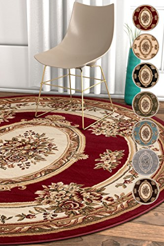 """Well Woven Pastoral Medallion Red French 8 Round (7'10"""" Round) Area Rug European Floral Formal Traditional Area Rug Easy Clean Stain Fade Resistant Shed Free Modern Classic Thick Soft Plush Rug"""