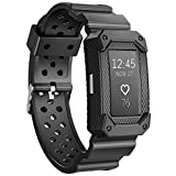 JIELIELE Charge2 Bands Protective Silicone Frame Case Band Strap Charge 2 Replacement Wristband Men Accessory Compatible Fitbit Charge 2 HR (Black).