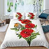 Erosebridal Red Poppy Duvet Cover Robin Bird Bedding Set for Kids Child...