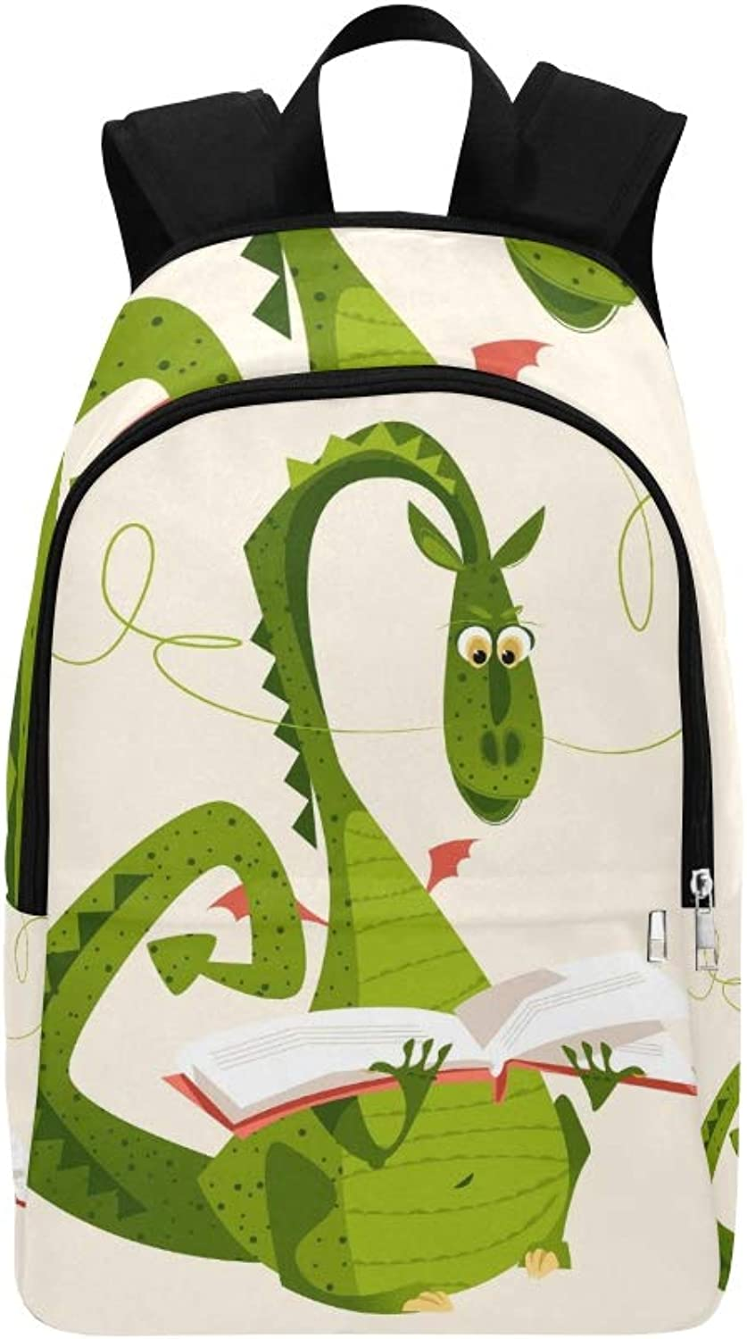 Dragon Sitting Reading Book Diada De Casual Daypack Travel Bag College School Backpack for Mens and Women