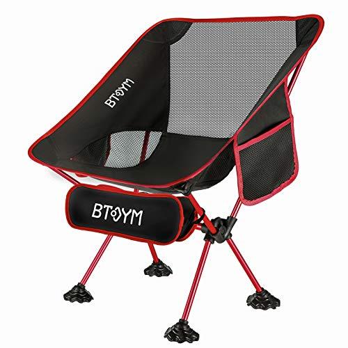 Faltbarer Campingstuhl Klappbarer Strandstuhl, Ultraleichter Tragbarer Camping Stuhl mit Tragetasche, Seitentaschen, Größere Füße, Ideale Campingstühle für Camping Angeln Outdoor Belastbarkeit 135kg