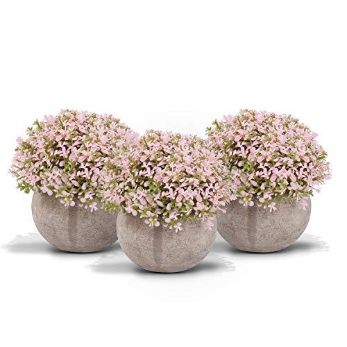 Zalava 3 Stück Künstliche Blumen, Künstliche Pflanzen Kunstpflanze mit Topf Bonsai für Hochzeit Tisch Haus Balkon Büro Deko