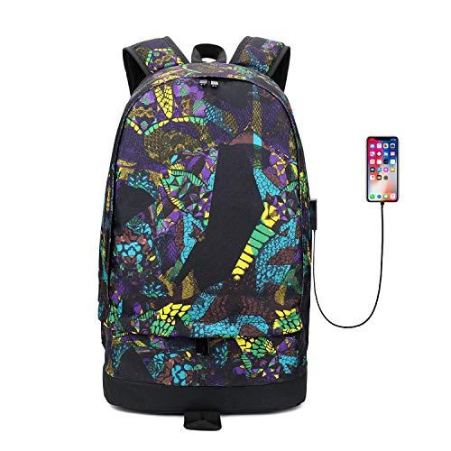 Lpiotyubeib Mochila, De Gran Capacidad del Estudiante de Escolar Informal sustancial USB Mochila de Color Corpóreo Oxford Hombre de Carga Escuela Hombre Viaje backbag Daypacks vacante Mochila