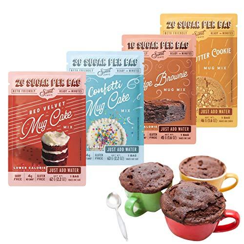 SWEET LOGIC Just Add Water Keto Mug Cake Mix | 3-4g Net Carbs, One Minute Easy Keto Baking | Sugar Free Gluten Free Keto Baking Dessert Naturally Sweetened | 4 Pack Variety