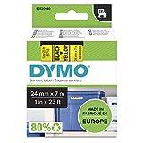 Dymo D1 Etichette Autoadesive per Stampanti LabelManager, Rotolo da 24 mm x 7 m, Stampa Nero su Giallo, S0720980