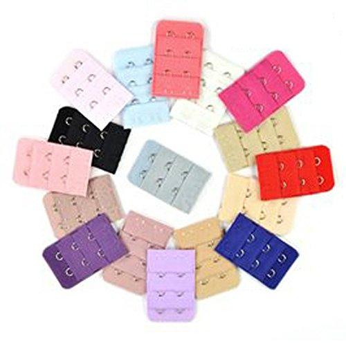 Lot de 10 extensions de soutien-gorge pour femme, 3 rangées de 2 crochets arrières Couleurs assorties
