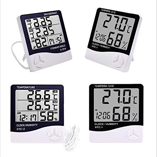 Medidor De Humedad Y Temperatura Digital Lcd Htc-1 Htc-2 Termómetro Higrómetro Para Interiores Y Exteriores Para El Hogar Estación Meteorológica Con Reloj (htc-1)