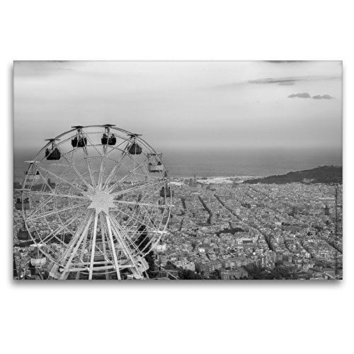 Premium Textil lienzo 120 cm x 80 cm horizontal, vista del Tibidabo en Barcelona, imagen sobre bastidor, imagen sobre lienzo auténtico, impresión sobre lienzo (CALVENDO Orte);Calvendo Orte