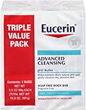 Eucerin Advanced Cleansing Body Bar Soap for Sensitive Skin - Fragrance and Soap Free Body Wash Bars - 3.5 oz, Pack of 3