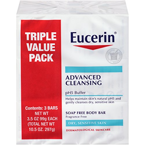 Product Image of the Eucerin Advanced Cleansing Body Bar Soap for Sensitive Skin - Fragrance and Soap Free Body Wash Bars - 3.5 oz, Pack of 3