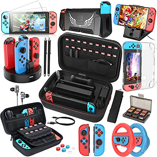 HEYSTOP Compatible with Nintendo Switch Case 25 in 1 Switch Accessories Gift Kit Protective Case Screen Protector Thumb Grip Cap Joycon Charger Wheel Grip TPU Case PlayStand Game Card Box Epic Pack
