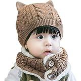 [ミャオッティ] ベビー帽 ネックウォーマー セット あったか ニット帽 耳付き 赤ちゃん 帽子 マフラー 6色 フリーサイズ SF396-R15-BR (ブラウン)