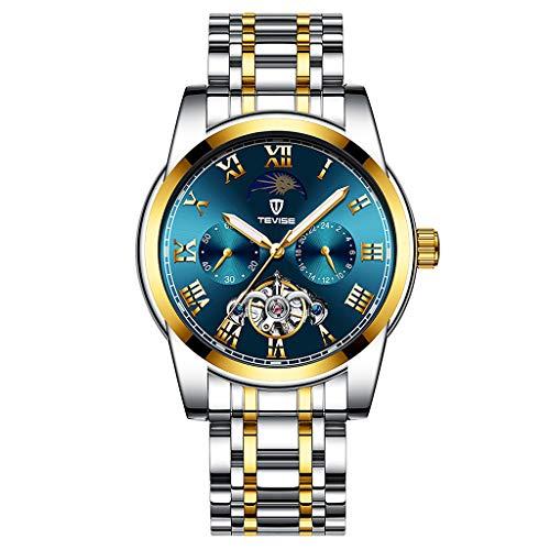 #N/A/a Reloj de Pulsera Mecánico Cronógrafo Impermeable de Acero Inoxidable de Lujo para Hombre - Plata Oro Azul