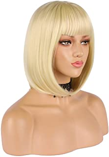 """eNilecor Short Light Blonde Bob Wigs 12"""" Straight with Bangs Synthetic Colorful Cosplay Daily Party Wig for Women Natural ..."""