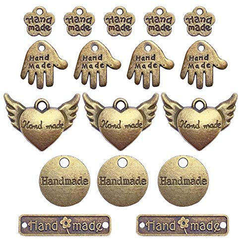 Juland 50 etiquetas de metal hechas a mano hechas a mano de aleación, colgante de cuentas de metal para hacer joyas, manualidades, hallazgos de regalo – 5 estilos – bronce antiguo