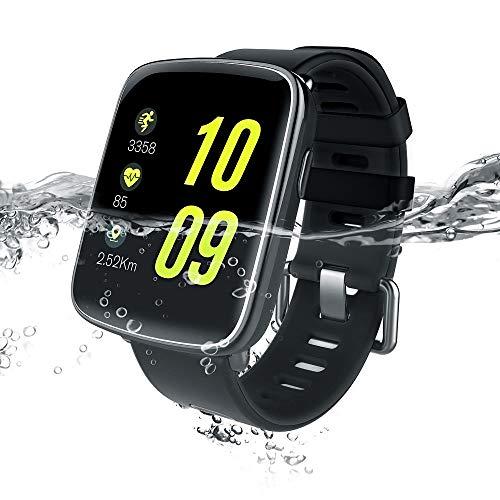 Smart Watch Yarrashop Bluetooth Impermeabile Orologio Fitness Tracker Watch Cardiofrequenzimetro da Polso Touch Screen Smart Watch Fitness Activity Tracker Cardio Pedometro per Android e iOS (rosso-1)