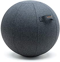 YOGIVO Sitting Ball Chair for Office and Home, Pilates Exercise Yoga Ball with Cover for Balance, Stability and Fitness, Ergonomic Posture Exercise Ball Seat with Handle and Pump (Gray, 24 in)