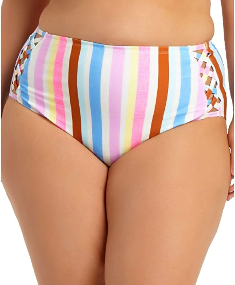 California Waves Trendy Plus Size Striped High-Waist Bikini Bottoms- Women's Swimsuit Linen Stripe Size 1X