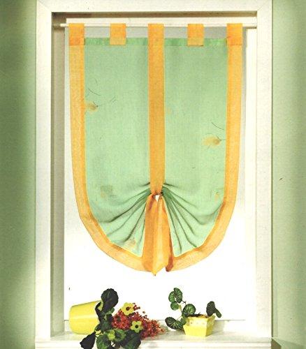 heimtexland Fensterdekoration Schwalbenschwanz Scheibengardine mit Schlaufen in grün gelb 45 x 75 cm individuell raffbar Vorhang Bistrogardine Mediterran Gardine Typ535