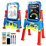 AMOSTING Easel Kids Adjustable Art Easel for Toddlers with Magnetic Whiteboard & Chalkboard