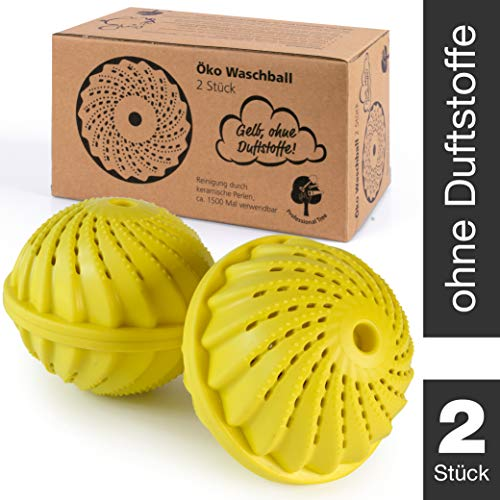 ProfessionalTree 2 Pelotas de Lavado - Pelotas de Lavado con Bolas de cerámica - Lavado sin detergente - para Aprox. 1.500 Lavados Pelota de Lavado Amarilla con Olor a limón