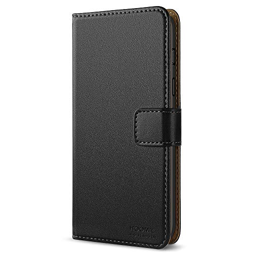 HOOMIL Handyhülle für OnePlus 6 Hülle, Premium PU Leder Flip Schutzhülle für OnePlus 6 Tasche, Schwarz