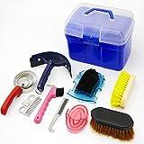 Kit de Cuidado de Caballos Kit de Cuidado de Limpieza de Caballos, Professional Horse Cleaning Tool Kit, Juego de Herramientas de Limpieza de Caballos, 10 Piezas,Blue Box