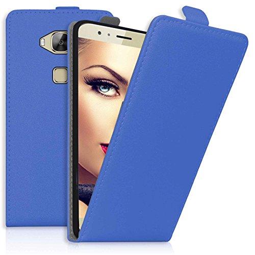 mtb more energy® Flip-Hülle Tasche für Huawei G8 (Rio) / Huawei GX8 (5.5'') - Blau - Kunstleder - Schutz-Tasche Cover Hülle