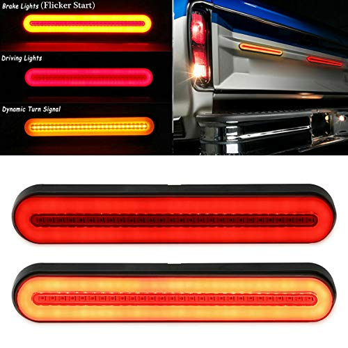 """led tail lights FABOOD F 2PCS 9"""" Inch Trailer 100 LED Tail Light Bar Red Sequential Spin Running Tail Light Flicker Brake Light, Sequential Flowing Amber Turn Signal Taillight for Trailer Truck Pickup SUV RV Van"""