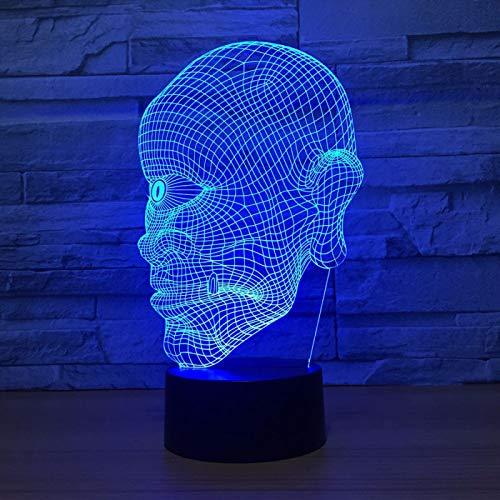 KangYD Lámpara de ilusión óptica LED con calavera de luz nocturna 3D para sordos de un solo ojo, C - Touch Crack Blanco (7 colores), Regalo de fiesta, Decoración moderna