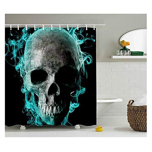 SSZZ Waterdicht douchegordijn met groene kop en skelet van schimmel, douchegordijn van digitaal bedrukt polyester, decoratieve badkamerrekwisieten