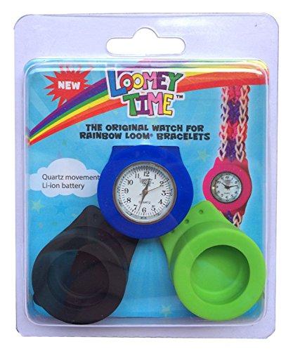 Rainbow Loom 21164 - Original Loomey Time 3 Uhren Set - Hüllen und 1 Uhrwerk, grün/blau/schwarz