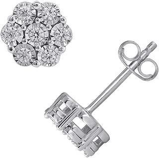 1/5 Carat Diamond Cluster Stud Earrings in 925 Sterling Silver