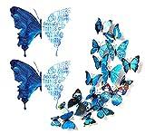 Flymind 26 Piezas 3D Mariposa y Vinilos Letras Pegatina de Pared, Pegatina Cita Motivadoras para Sala Decoración Hogar Decor del Dormitorio
