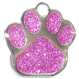 Engraved 27mm Glitter DARK PINK Paw Shaped Pet ID Tag – In Stock and Supplied by Busy Bits