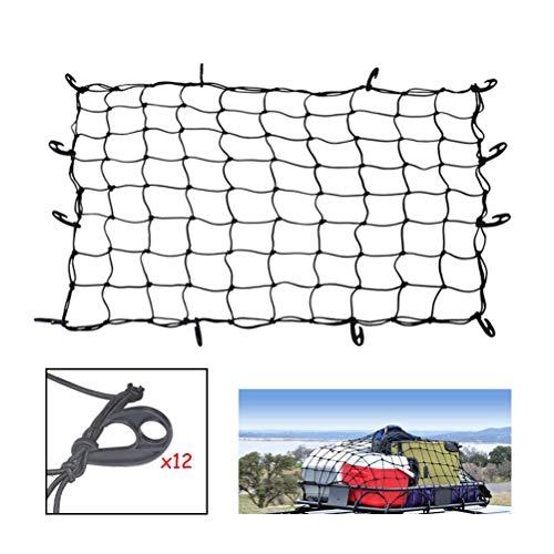Autonet Cargo Net, 120 X 90CM Verstelbare Elastische Trunk voor SUV, Truck Chassis, Pickup Nylon Net Achternet, met Praktische Gratis Plastic Haak, Geen noodzaak om Rubber te trekken Voorkom dat de goederen vallen