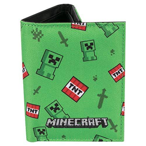 JINX Minecraft Creeper Sprite Nylon Tri-Fold Wallet, Multi-Colored, One Size
