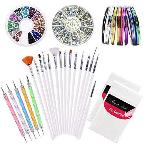 Kyerivs Kit de Nail Art Manucure Autocollants à Ongles-Diamant Décoration Ongle d'Art Nail Sticker et 15 Pinceaux Nailart