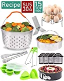 Instant Pot Accessories Set 15 Pcs Compatible with Instant Pot 5,6,8 Qt - 2 Steamer Baskets, Springform Pan, Egg Steamer Rack, Egg Bites Mold, Kitchen Tong, Cheat Sheet Magnet, and etc