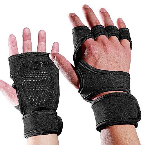 Belleashy Guantes de gimnasio para interiores y deportes de fitness, levantamiento de pesas, antideslizantes, con medio dedo (negro, rojo), culturismo para hombres y mujeres (color: negro, tamaño: L)