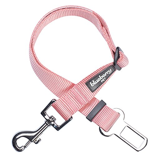 Blueberry Pet Essentials 19 Colors Classic Dog Seat Belt Tether for Dogs Cats, Baby Pink, Durable Safety Car Vehicle Seatbelts Leads Use with Harness