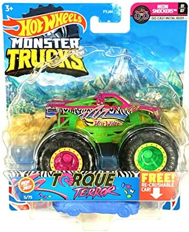 DieCast Hotwheels Monster Trucks 2021 Torque Terror 5 75 Neon Shockers 01 07 with re Crushable product image
