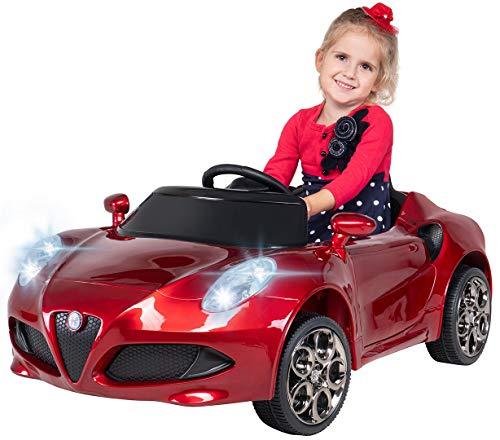 Kinder Elektroauto ALFA Romeo 4c Lizenziert Original Kinderelektroauto Kinderfahrzeug Auto (Weinrot)*