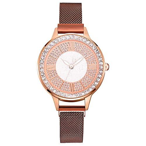2pcs Set Luxury Women Watches Magnetic Rhinestone Reloj Femenino Reloj de Pulsera de Cuarzo Moda Reloj de Pulsera (Color : Coffee)
