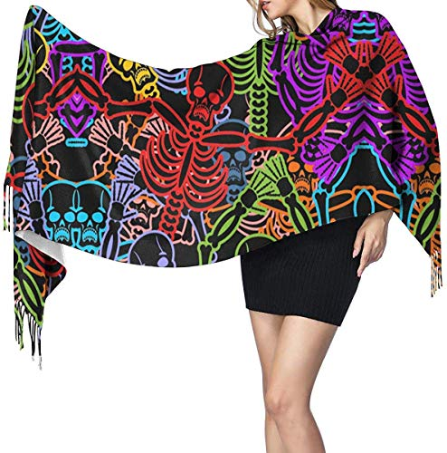 Quecci Bufanda de mantón,Day Of The Dead Pattern Pashmina Shawls And Wraps Large Scarfs For Women Oversized Shawl Cape Winter Unisex Blanket Scarf 68-196cm