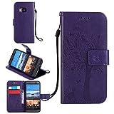 Funda Libro para HTC One M9 (5 pulgada), Ycloud PU Leather Cuero Con Flip Cover Cierre Magnético Función de Soporte Billetera Case con Tapa para Tarjetas Gato Árbol Mariposa Púrpura